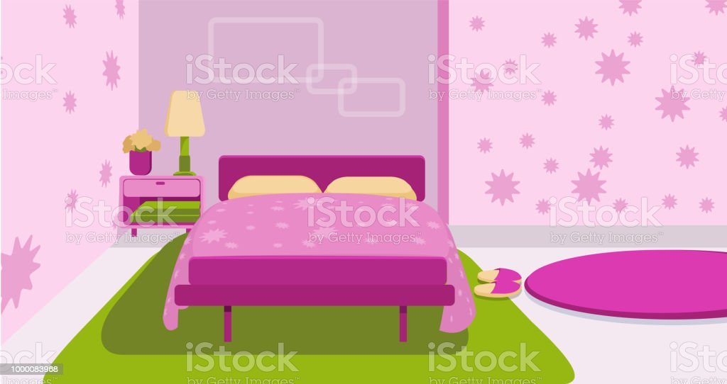 Cute Room For Little Kid Bedroom Stock Vector Art More Images Of