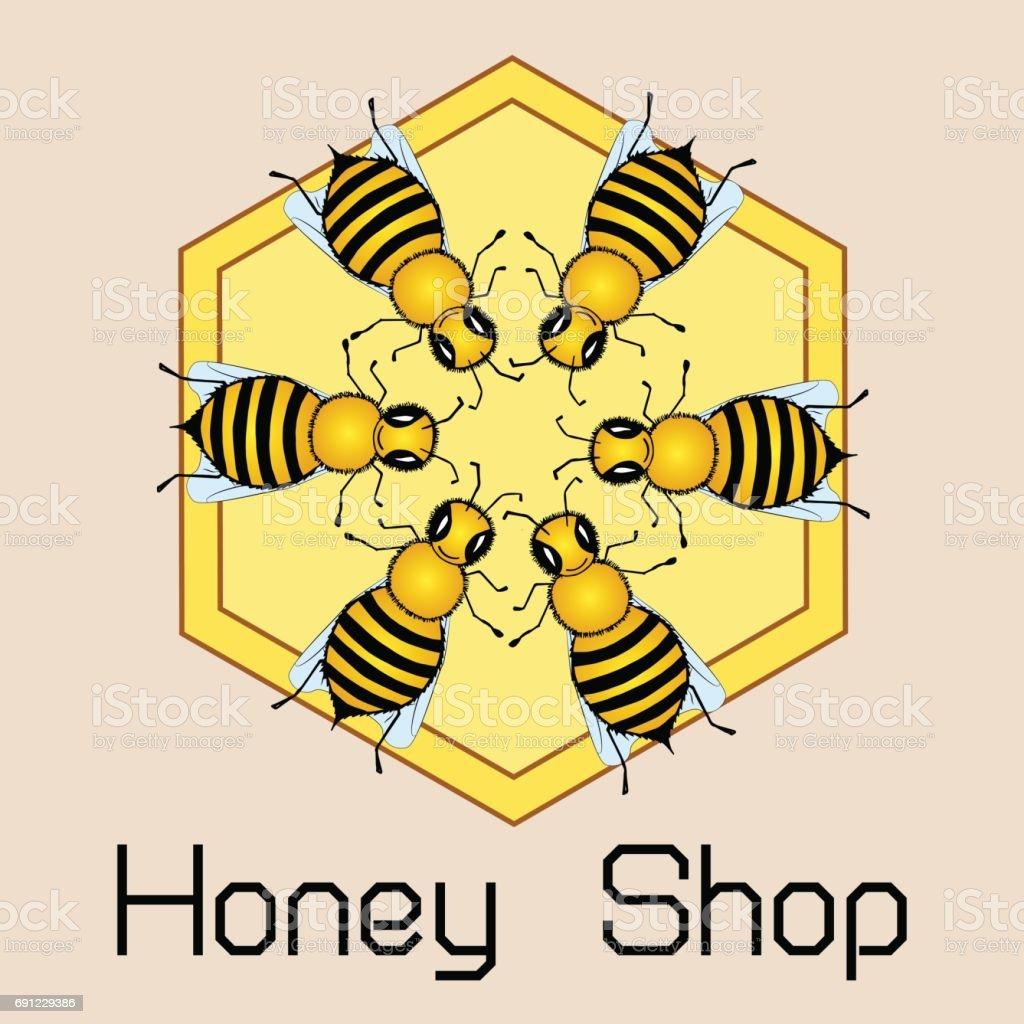 Nette Runde Rahmen Fliegen Bienen Glänzend Gold Print Honig Shop ...