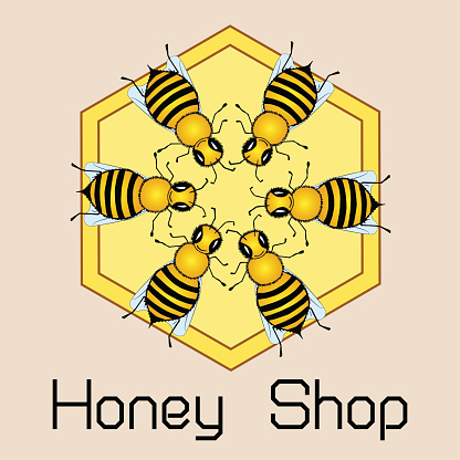 Cute round frame of flying bees, shiny gold print. Honey shop emblem. Vector illustration