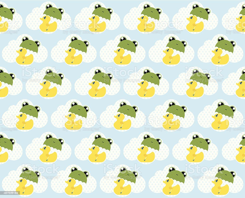 cute royal duck and frog umbrella pattern stock vector art