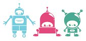 Vector  set of three cute glossy robots characters smiling.