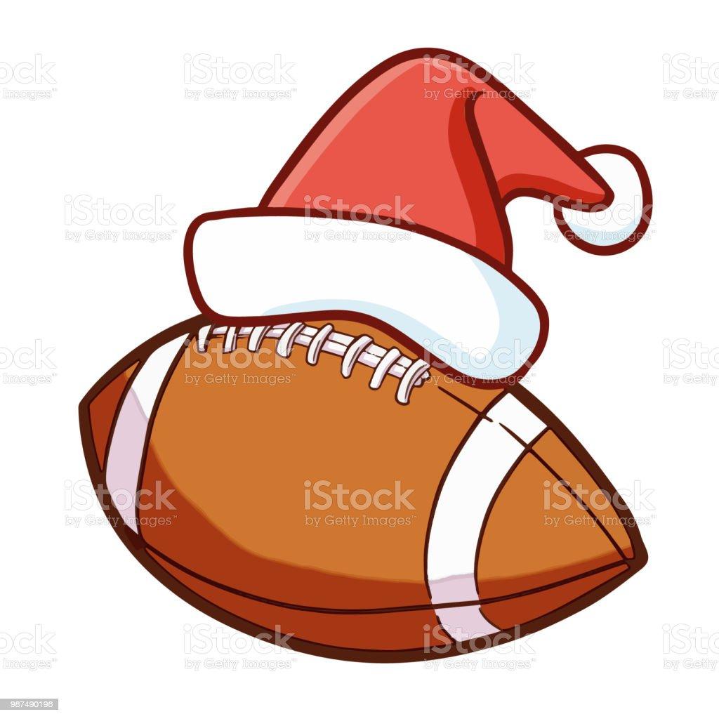 サンタさんの帽子をかぶってかわいいラグビー ボール もがくのベクター