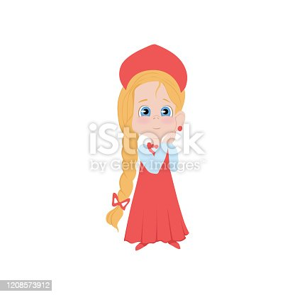 Cute russian blonde girl in red dress with long hair and blue eyes. Flat style. Vector illustration on white background