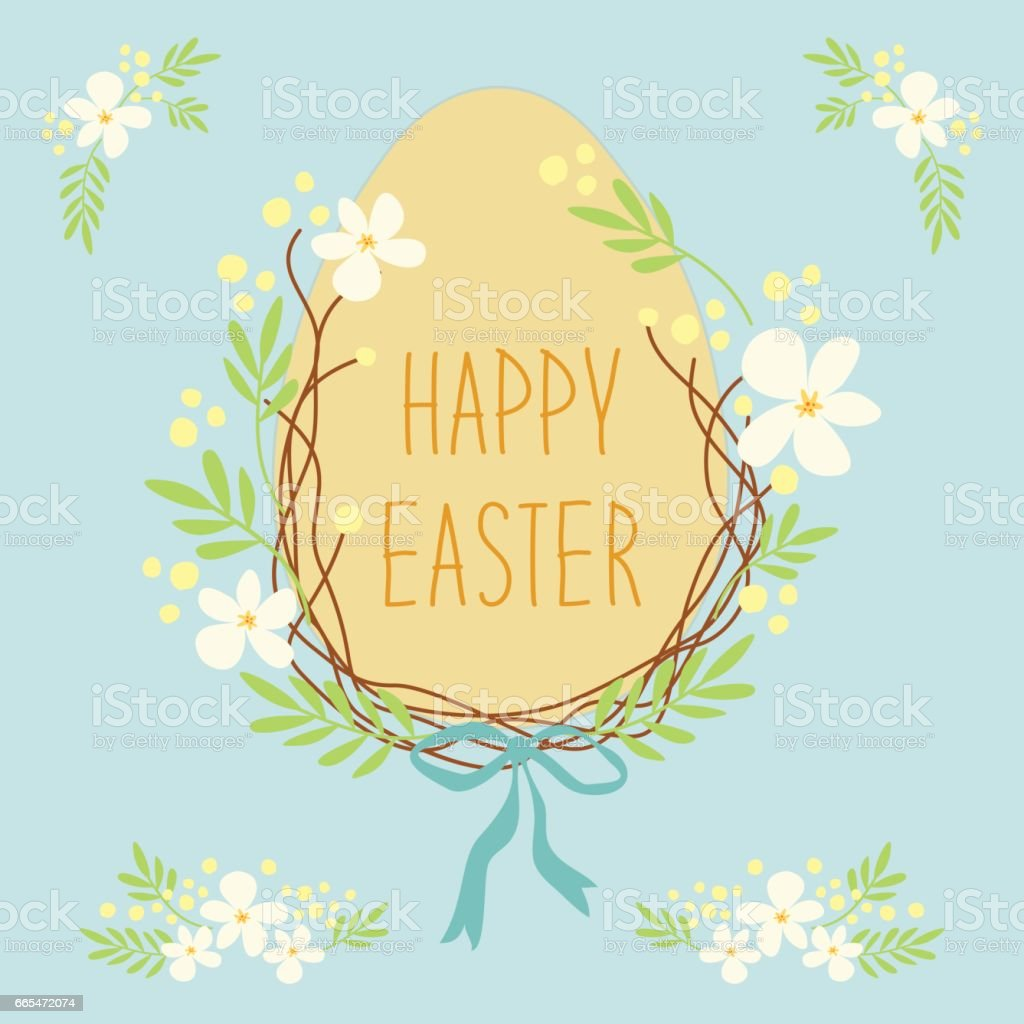 Cute Rustic Hand Drawn Easter Wreath Of Spring Flowers And Egg With Written Text Happy
