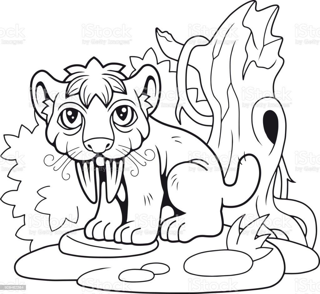 Ilustración de Lindo Tigre Dientes De Sable Ilustración Divertida y ...