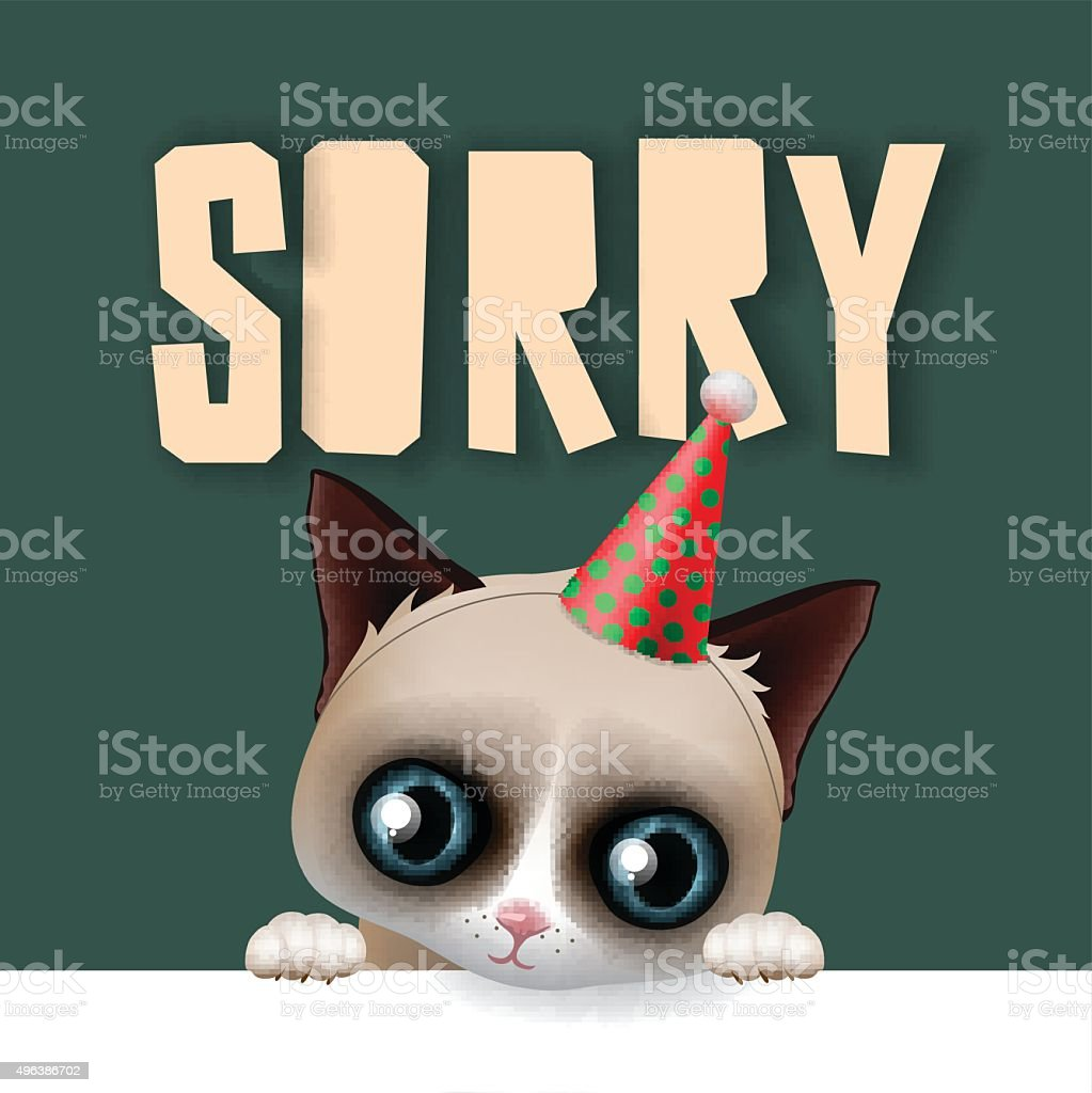 Cute sad cat apologize sorry card, vector illustration.
