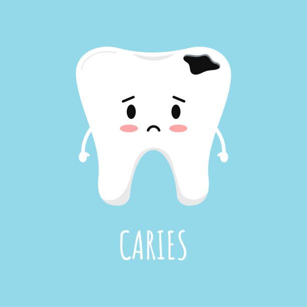 stockillustraties, clipart, cartoons en iconen met leuke droevige emoticontand met tandcareën. - streptococcus mutans