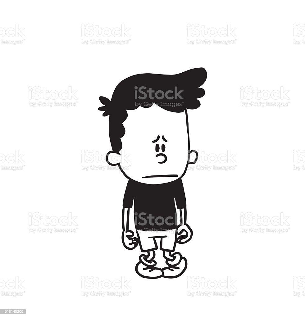 Cute sad little boy feeling his guilty, monochrome style vector art illustration