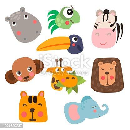 Cute Safari Animal Faces in flat style isolated vector illustration. Decorative safari collection. Cartoon childish vector safari animals face set. African giraffe, elephant, hippo, monkey, tiger and other.