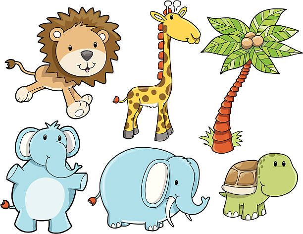 Cute Safari Animal Set vector art illustration