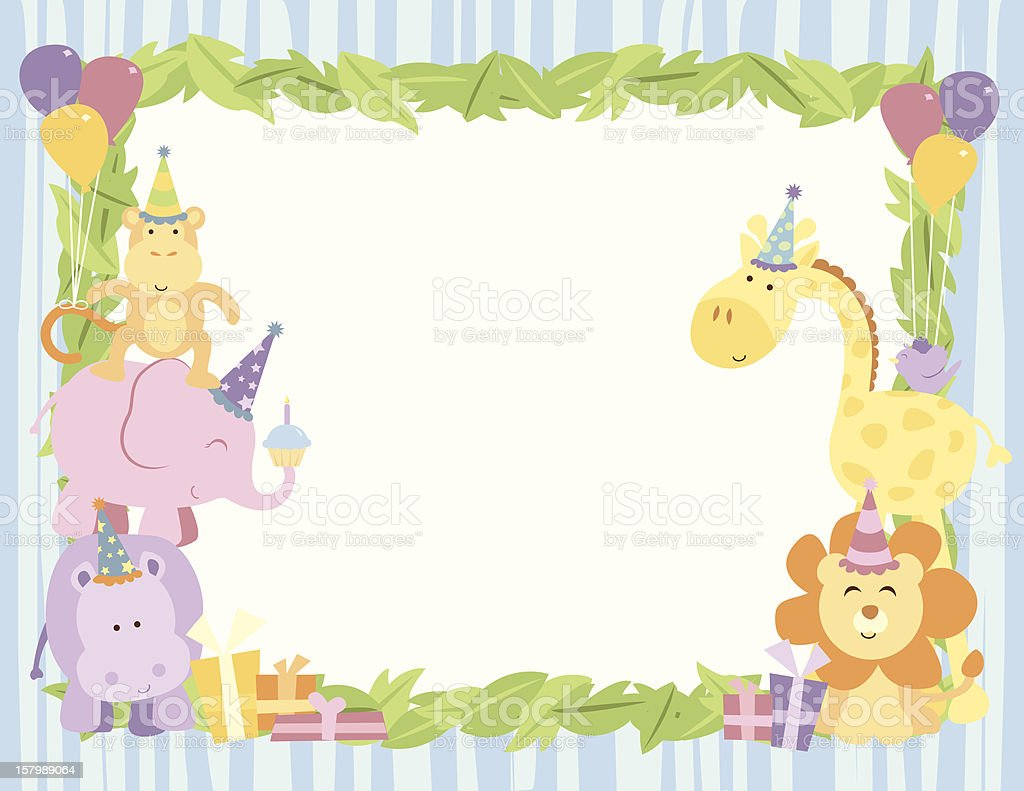 Cute safari animals birthday card with leaves border stock vector cute safari animals birthday card with leaves border royalty free cute safari animals birthday card bookmarktalkfo Choice Image