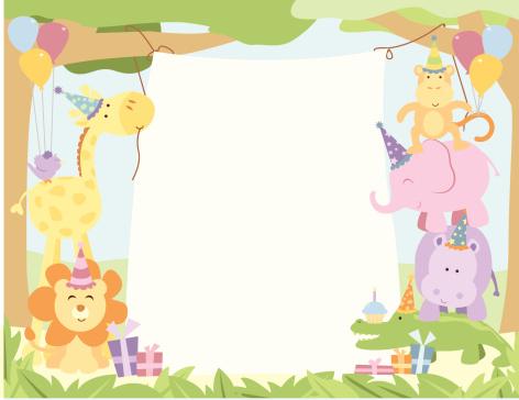 Cute Safari Animals Birthday Party Banner