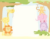 A vector illustration of cute safari animals hanging a banner. Objects are grouped and layered for easy editing. Files included: AICS5, EPS8 and Large High Res JPG.