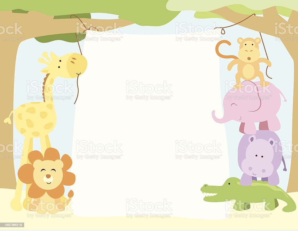 Cute Safari Animals Hanging a Banner vector art illustration