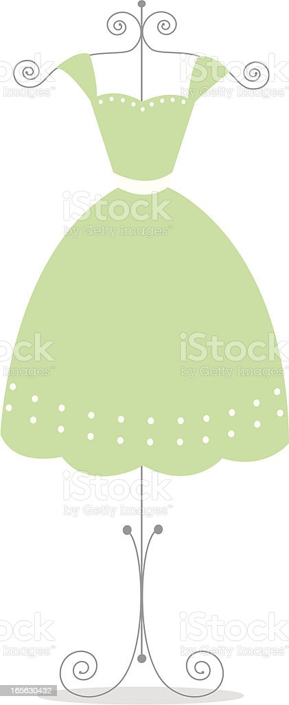 Cute sage green dress vector art illustration