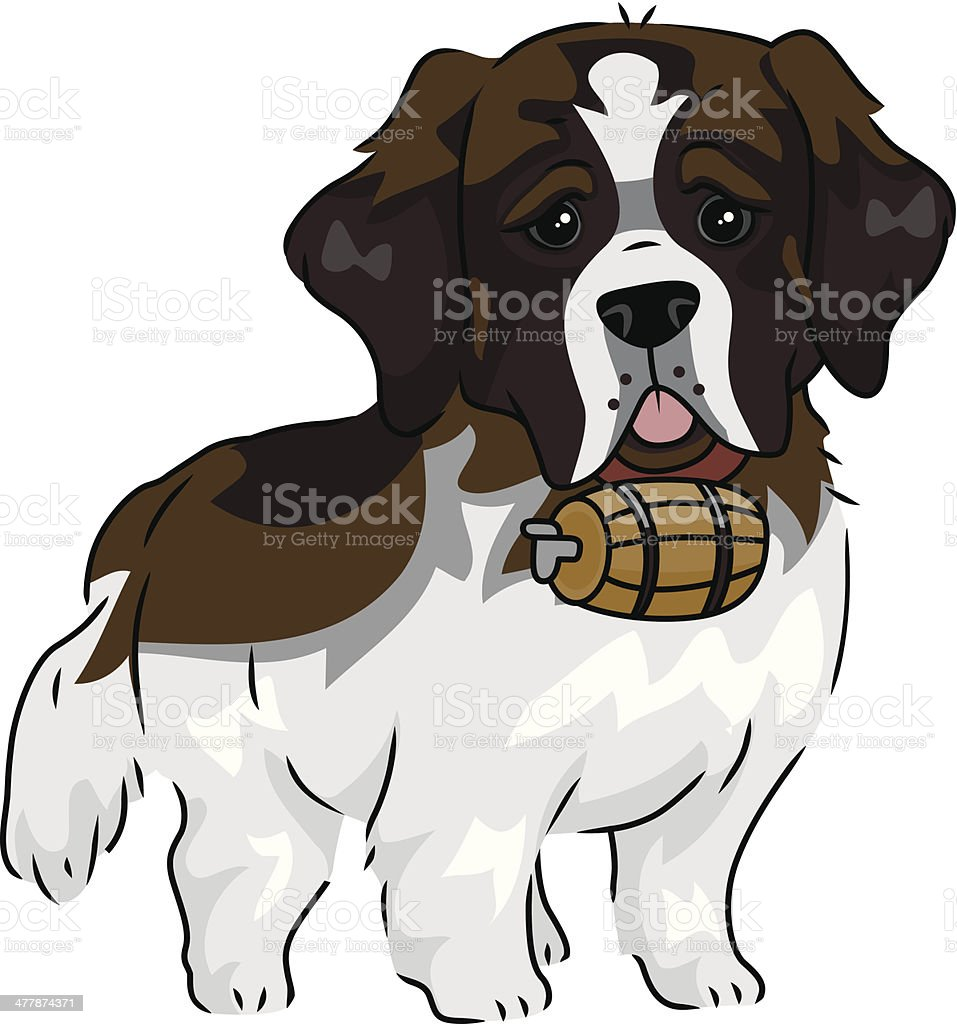 Cute Saint Bernard dog vector art illustration