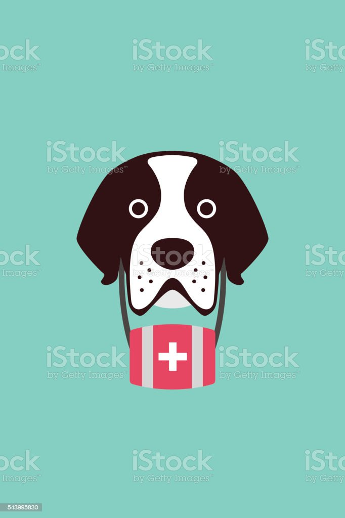 cute Saint Bernard dog, vector illustration vector art illustration