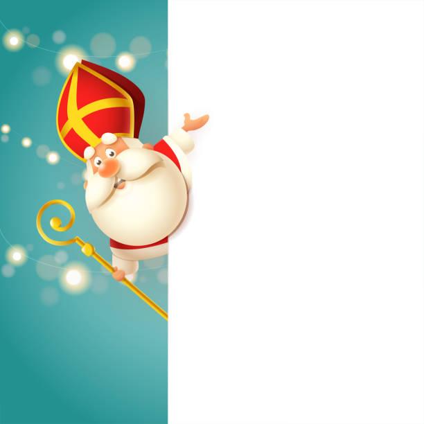 stockillustraties, clipart, cartoons en iconen met schattig sinterklaas aan de linkerkant van board-gelukkig schattig karakter vieren feestdagen-vector illustratie - cadeau sinterklaas