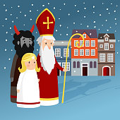 Cute Saint Nicholas with angel, devil, old town houses and falling snow, Christmas invitation card, vector illustration, winter background