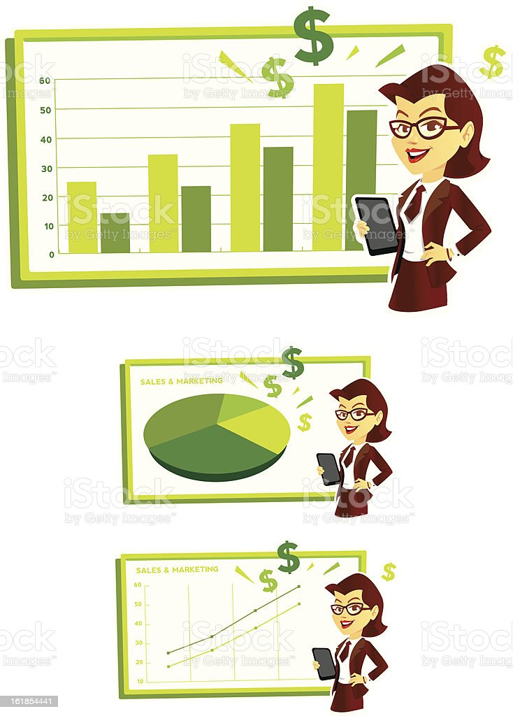 Cute Sales Woman Giving Presentation 2.0 royalty-free stock vector art