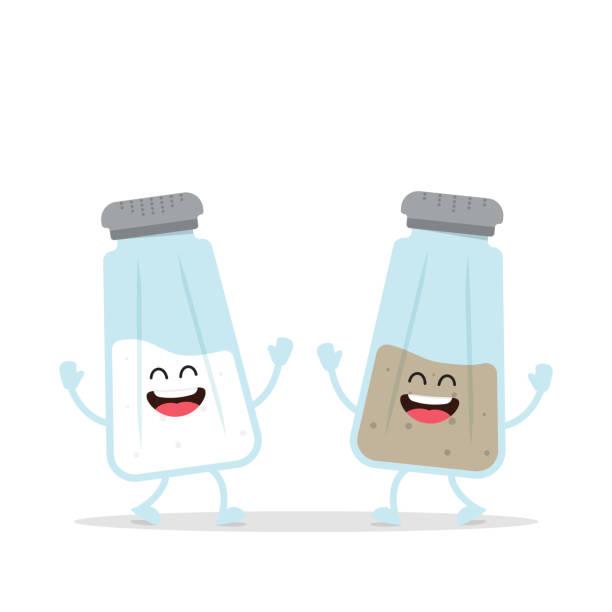 Cute Salt and Pepper Shaker Bottle Funny salt and pepper. Comic characters. Vector Illustration salt stock illustrations