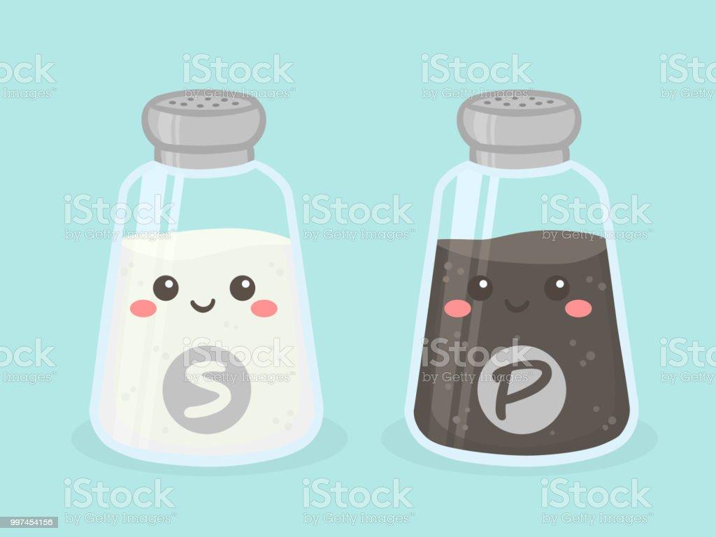 Cute Salt and Pepper Shaker Bottle Vector Illustration Cartoon Smile векторная иллюстрация