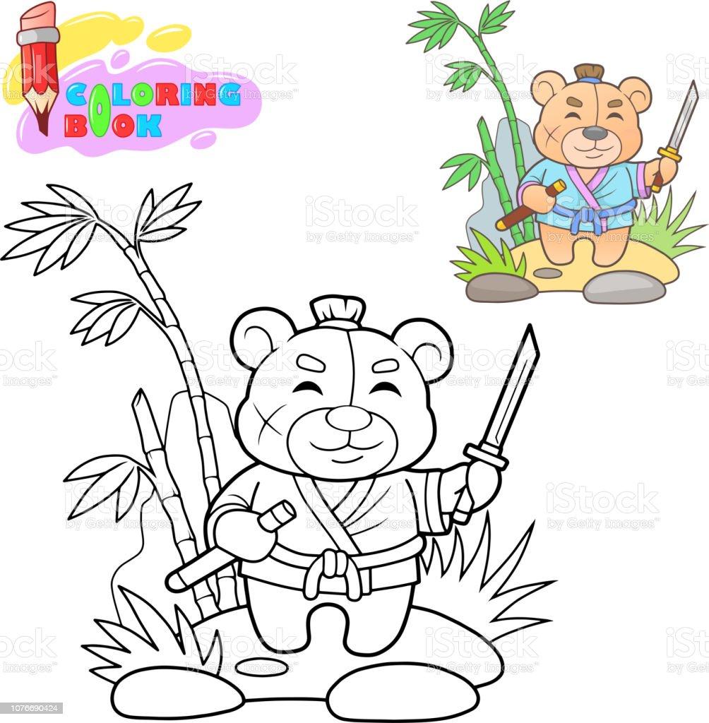 Cute Samurai Teddy Bear Coloring Book Funny Illustration Stock Illustration  - Download Image Now - IStock