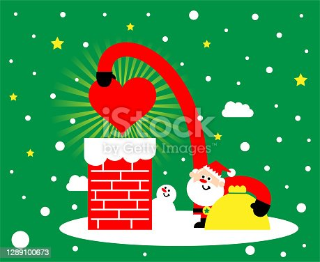 istock Cute Santa Claus carrying a sack and sending a heart symbol gift through the chimney 1289100673