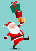 istock Cute Santa Claus character carrying a stack of big colorful gift boxes, isolated on aqua green background in contemporary flat style. Christmas theme design element vector cartoon illustration 1227443108