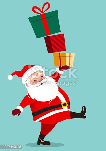 Cute Santa Claus character carrying a stack of big colorful gift boxes, isolated on aqua green background in contemporary flat style. Christmas theme design element vector cartoon illustration