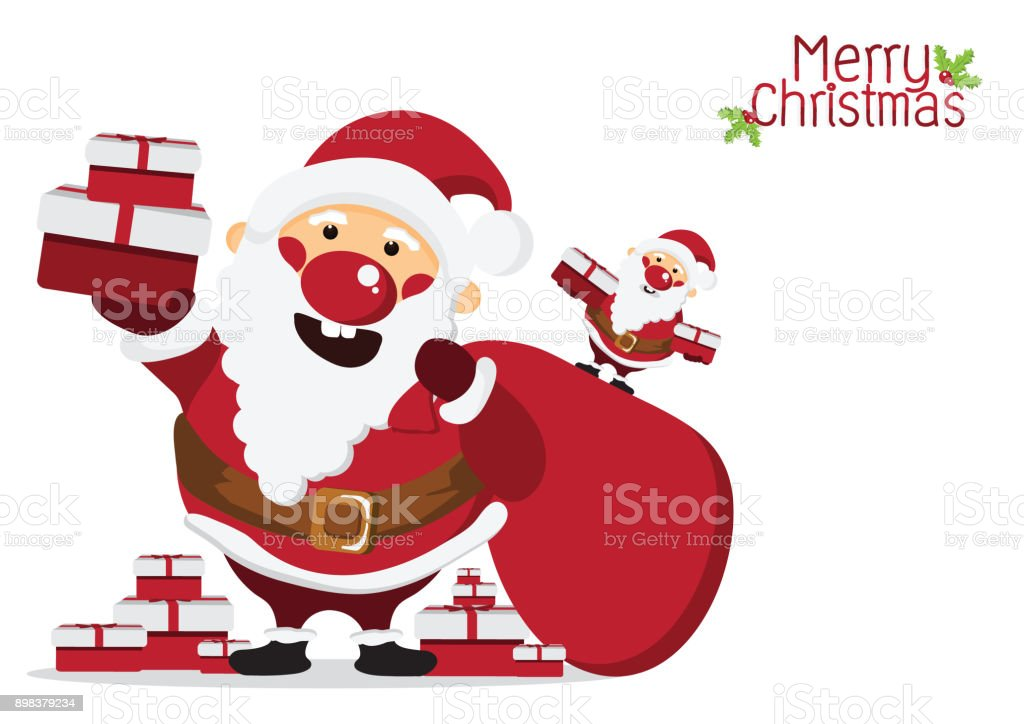 Cute Santa Claus Character With GiftMerry Christmas And Happy Conceptdesign For Wallpaper