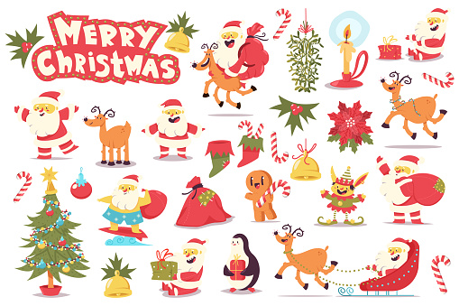 Cute Santa Claus, Christmas tree, reindeer, elf and holiday elements. Vector cartoon character set isolated on white background.