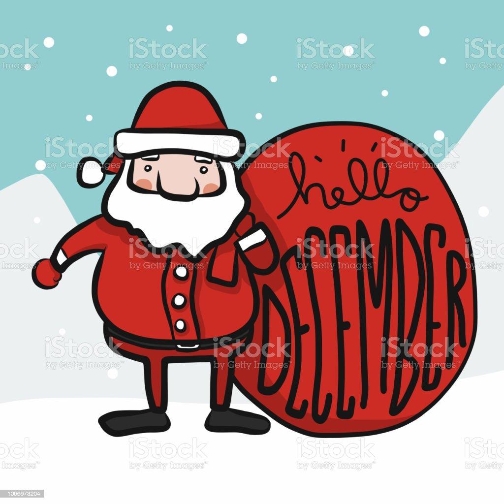 Dessin Animé Mignon Père Noël Bonjour Décembre Doodle