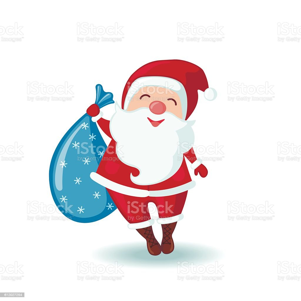cute santa claus holding a sack of gifts stock vector art more rh istockphoto com Holiday Smiley Face Clip Art Smiley Face with Hat Clip Art