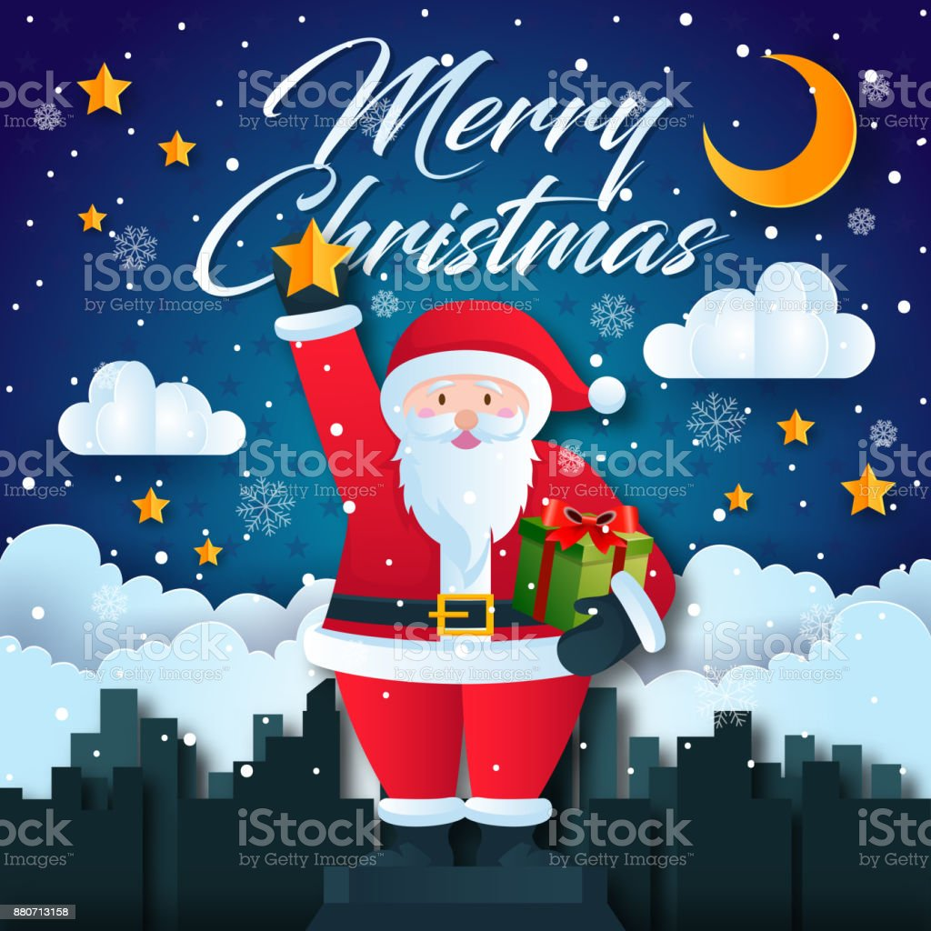 Cute Santa Claus Holding Star Cityscape Merry Christmas Card