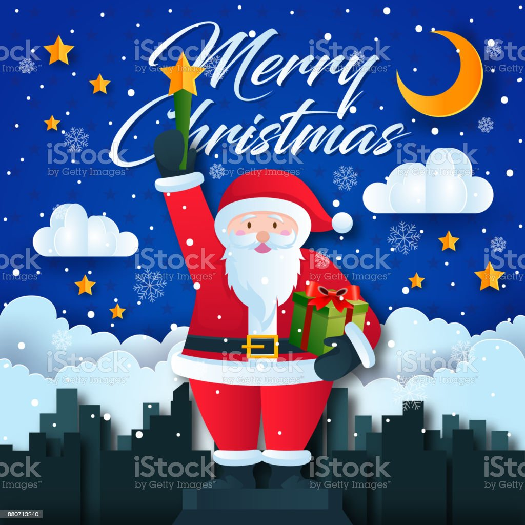 Cute Santa Claus Holding Star Torch Merry Christmas Card