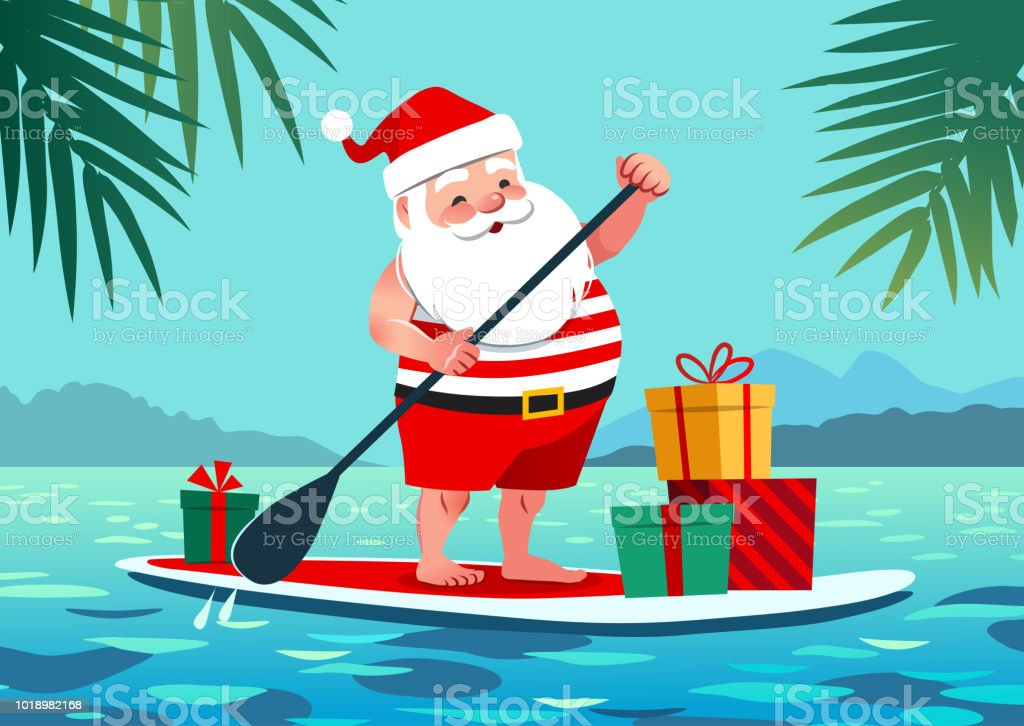 Best Paddle Boards >> Cute Santa Claus In Shorts And Tshirt On A Stand Up Paddle Board With Gifts Against Tropical ...