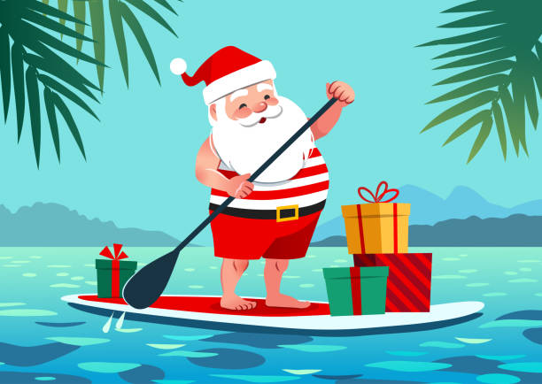 Cute Santa Claus in shorts and t-shirt on a stand up paddle board with gifts, against tropical ocean background with palm trees. Warm weather Christmas celebration, warm climate holiday vacation theme Cute Santa Claus in shorts and t-shirt on a stand up paddle board with gifts, against tropical ocean background with palm trees. Warm weather Christmas celebration, warm climate holiday vacation theme seyahat noktaları illustrationsları stock illustrations