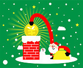 Merry Christmas cartoon characters design vector art illustration. Cute Santa Claus is putting Yuan or Yen sign coin (chinese, taiwanese or japanese currency) into the chimney; Merry Christmas and New Year greeting card.