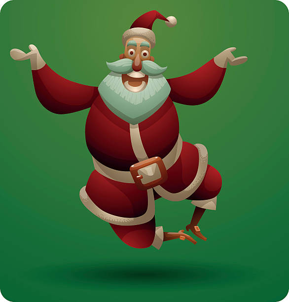 cute santa claus jumping - old man funny pictures stock illustrations