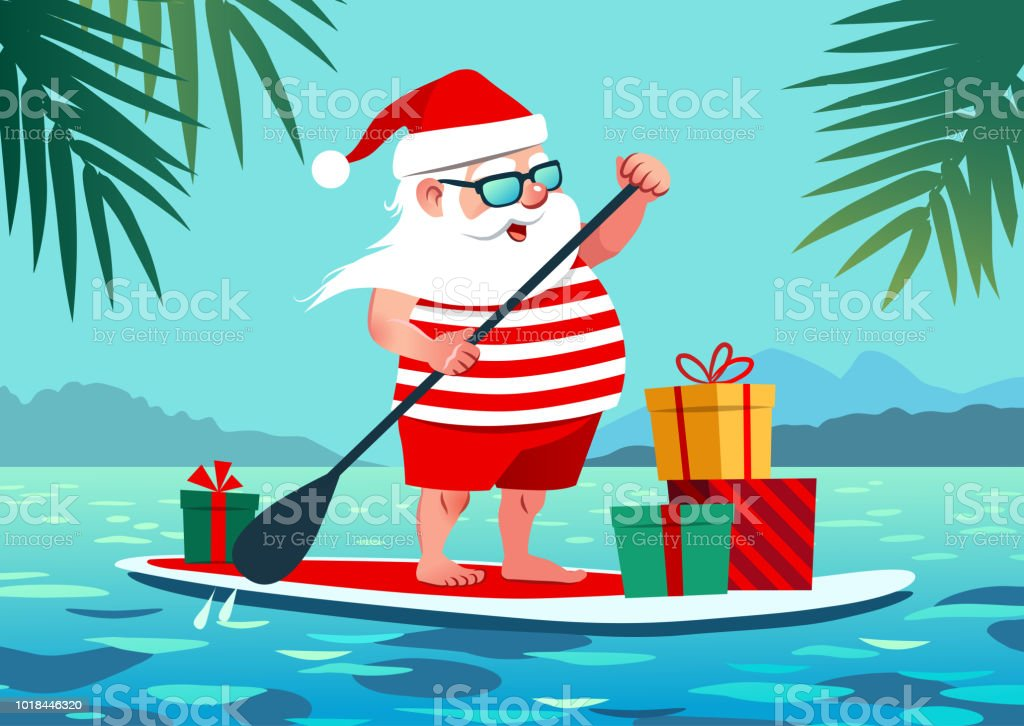 Cute Santa Claus on paddle board with gifts against tropical ocean background vector cartoon illustration. Christmas in July, summer, vacation, resort, warm climate theme for posters, greeting cards. vector art illustration