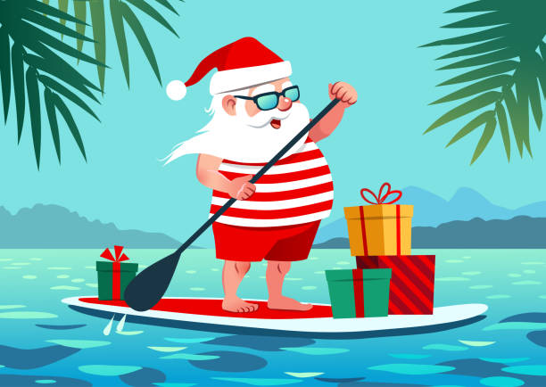 Cute Santa Claus on paddle board with gifts against tropical ocean background vector cartoon illustration. Christmas in July, summer, vacation, resort, warm climate theme for posters, greeting cards. Cute Santa Claus on paddle board with gifts against tropical ocean background vector cartoon illustration. Christmas in July, summer, vacation, resort, warm climate theme for posters, greeting cards. waterfront stock illustrations