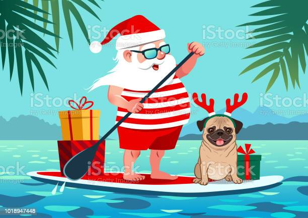 Cute santa claus on stand up paddle board with pug dog and gifts vector id1018947448?b=1&k=6&m=1018947448&s=612x612&h=uhdxtdk5zyk qg2 yzcvpkpufiyjft0wa gxpim6dq8=