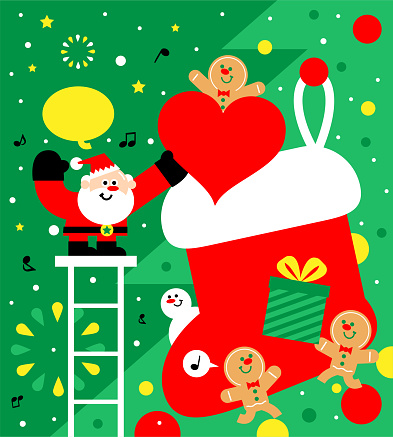 Cute Santa Claus putting a heart symbol gift into a big Christmas stocking, Merry Christmas and New Year Greeting card with gingerbread man and snowman