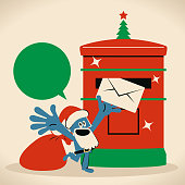 Blue Little Guy Characters Full Length Vector art illustration.Copy Space. Cute Santa Claus putting an envelope into a public mailbox, sending mail or postcard.