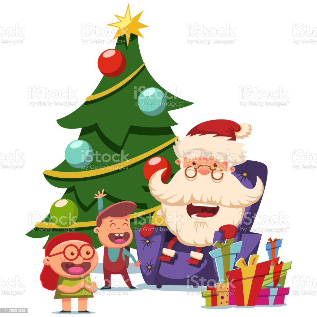 Cute Santa Claus Sits In An Armchair With Children Near Christmas Tree Vector Cartoon Illustration Isolated On White Background Stock Illustration Download Image Now Istock