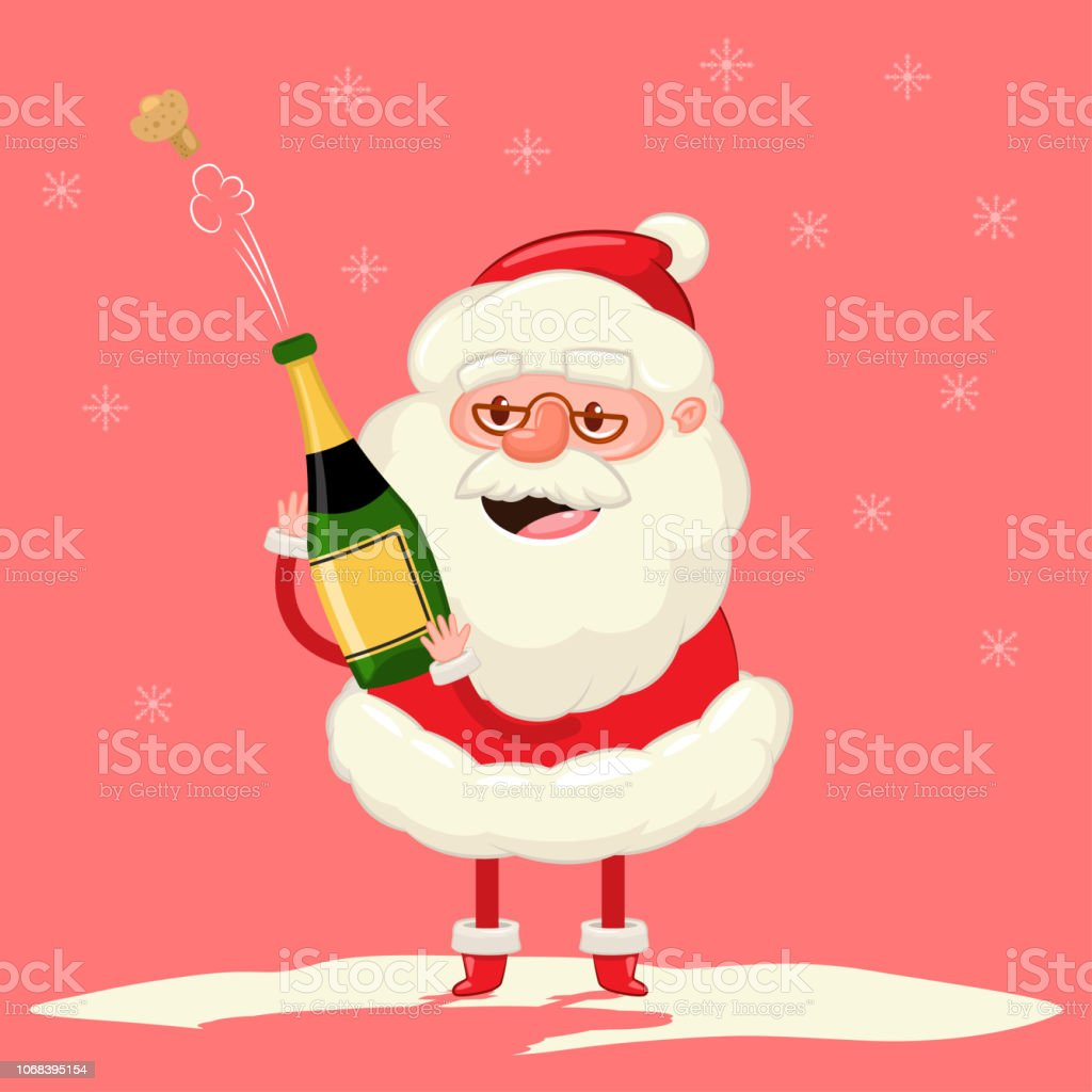 Mignon Père Noël Avec Une Explosion De La Bouteille De