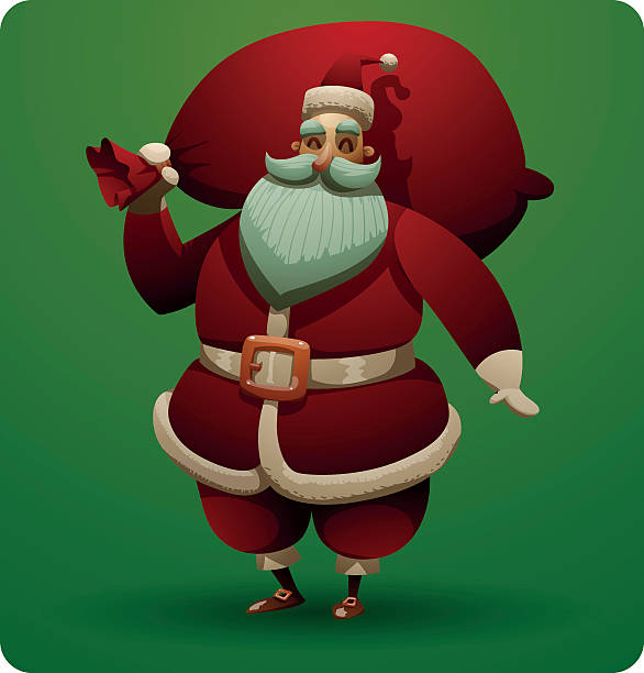 cute santa claus with red bag - old man funny pictures stock illustrations, clip art, cartoons, & icons