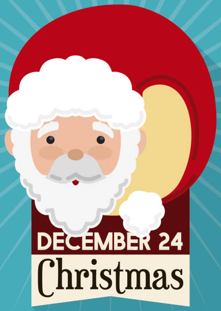 cute santa claus with reminder date for christmas - secret santa messages stock illustrations