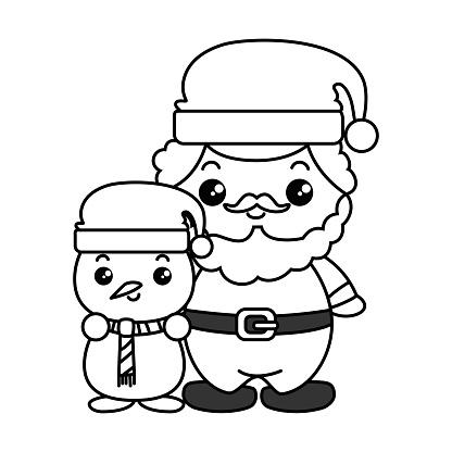 Süßer Weihnachtsmann Mit Schneemann Kawaii Charaktere Stock Vektor Art Und Mehr Bilder Von Comic Kunstwerk Istock